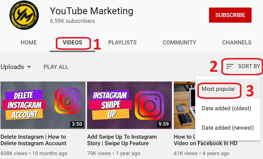 selecting competitors most pupular videos on youtube